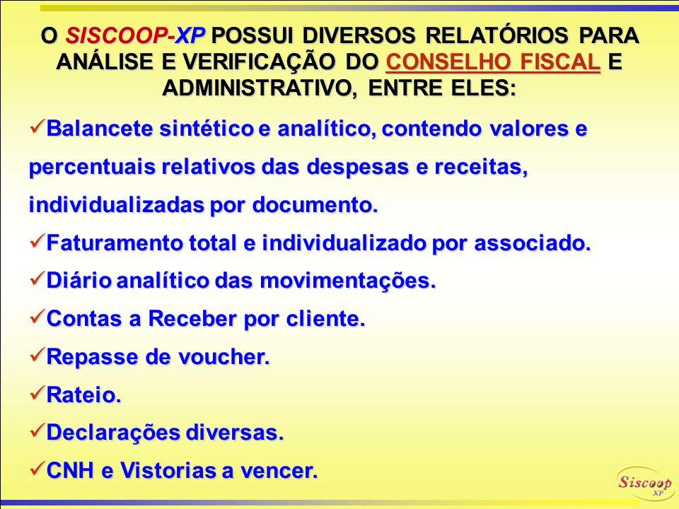 O SISCOOP-XP POSSUI DIVERSOS RELATÓRIOS PARA ANÁLISE E VERIFICAÇÃO DO CONSELHO FISCAL E ADMINISTRATIVO, ENTRE ELES: