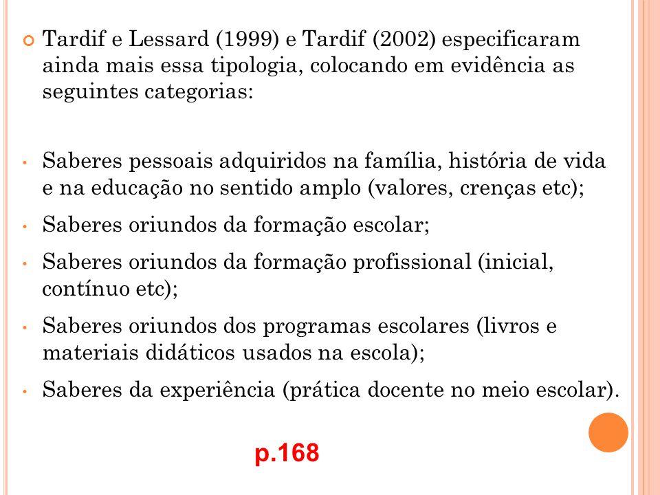Tardif e Lessard (1999) e Tardif (2002) especificaram ainda mais essa tipologia, colocando em evidência as seguintes categorias: