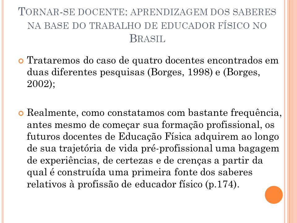 Tornar-se docente: aprendizagem dos saberes na base do trabalho de educador físico no Brasil