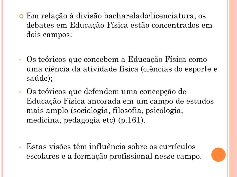 Em relação à divisão bacharelado/licenciatura, os debates em Educação Física estão concentrados em dois campos: