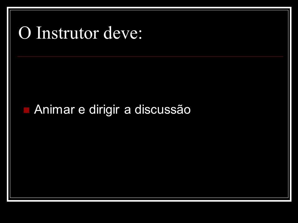 O Instrutor deve: Animar e dirigir a discussão