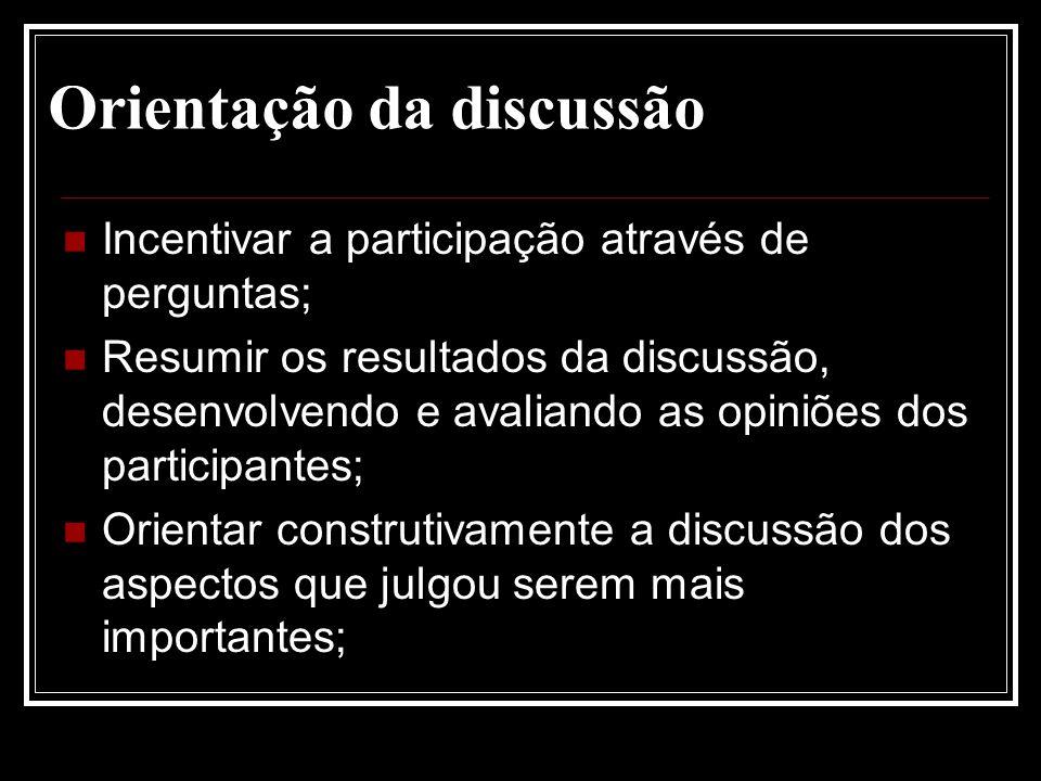 Orientação da discussão