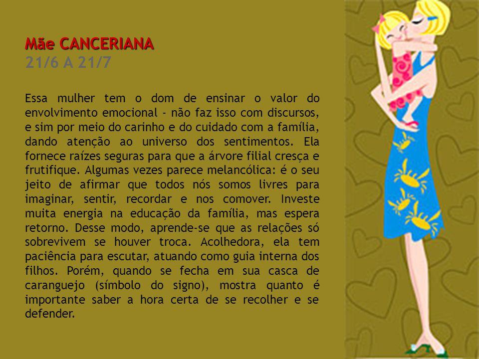 Mãe CANCERIANA 21/6 A 21/7.