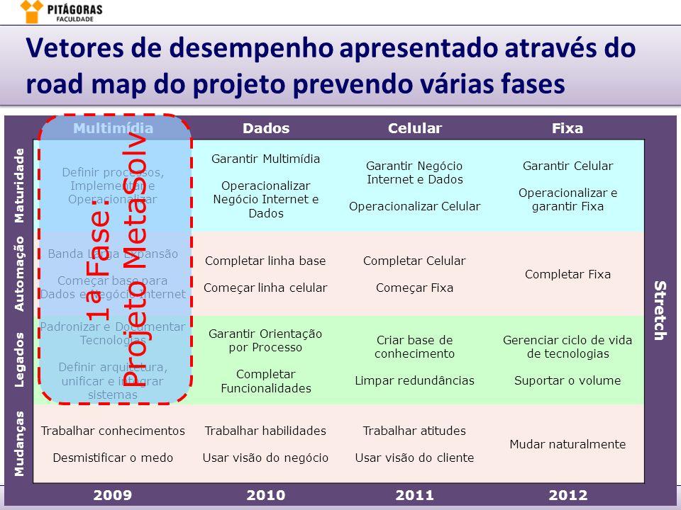 Vetores de desempenho apresentado através do road map do projeto prevendo várias fases