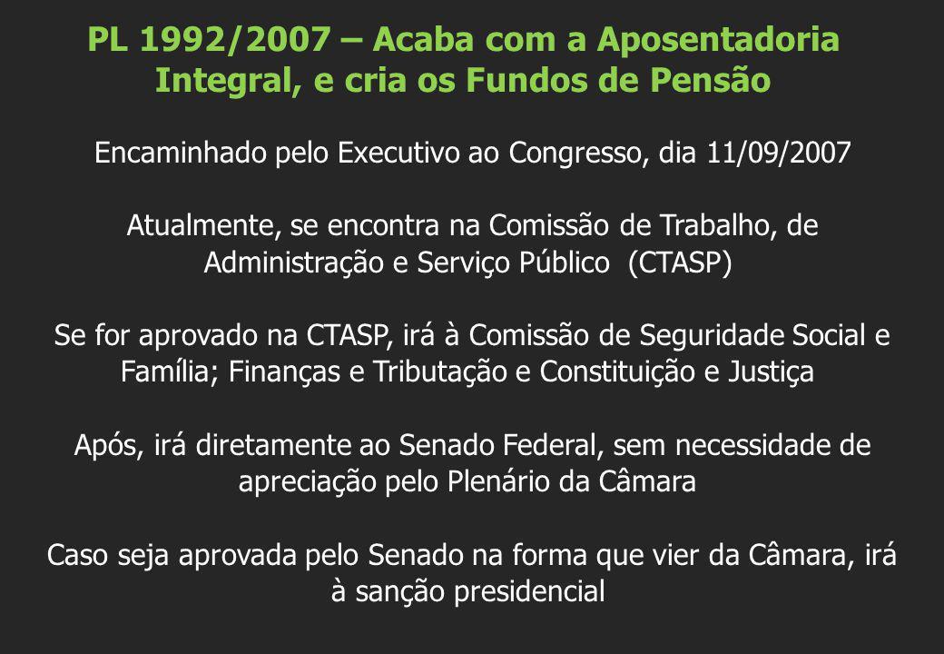Encaminhado pelo Executivo ao Congresso, dia 11/09/2007