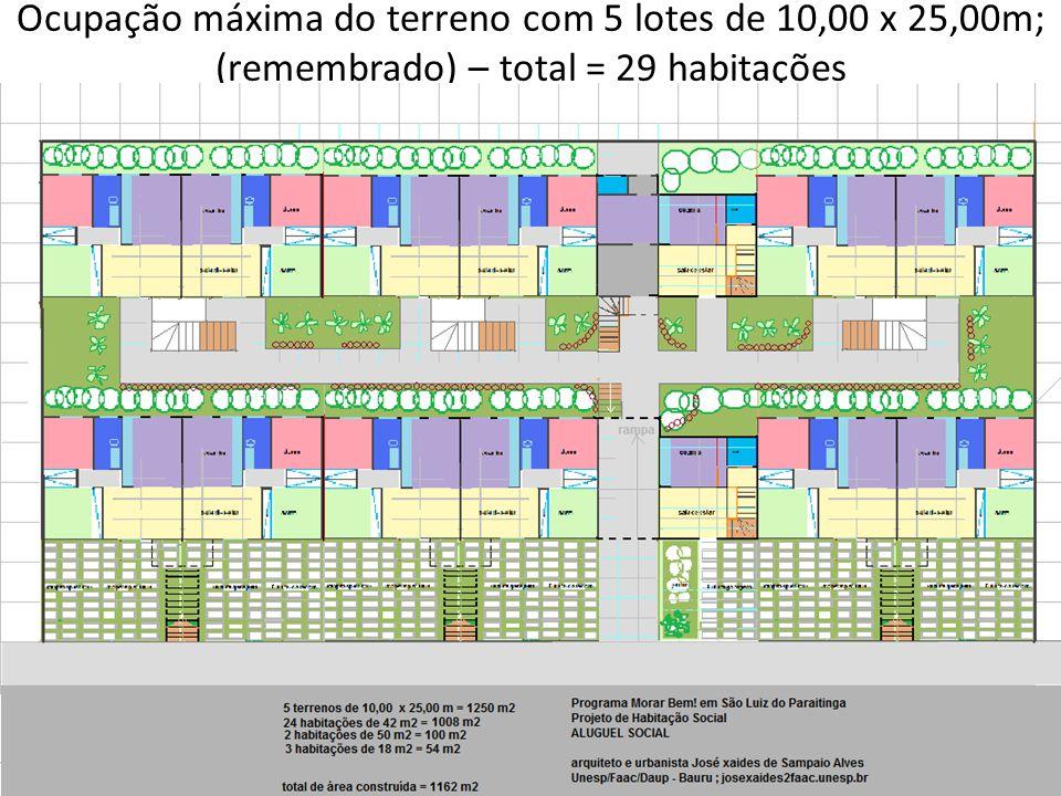 Ocupação máxima do terreno com 5 lotes de 10,00 x 25,00m; (remembrado) – total = 29 habitações