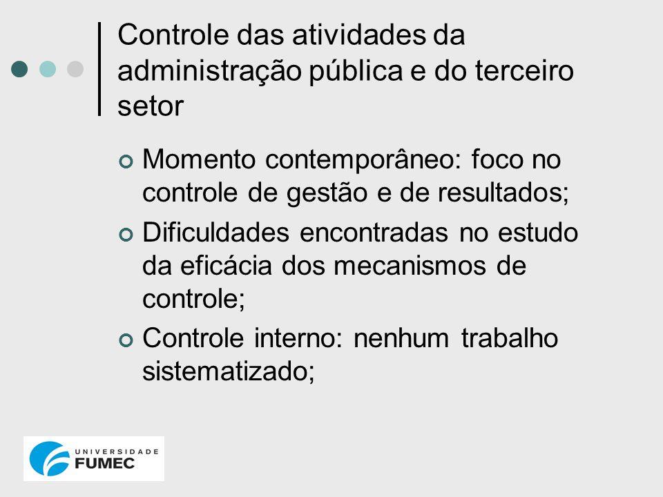 Controle das atividades da administração pública e do terceiro setor