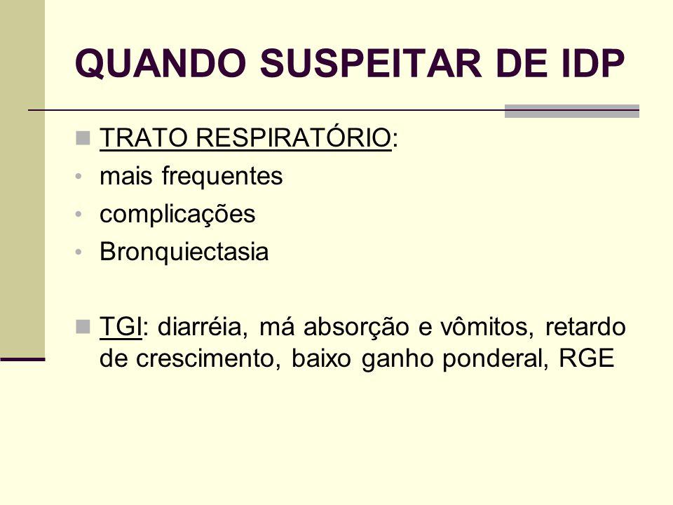 QUANDO SUSPEITAR DE IDP