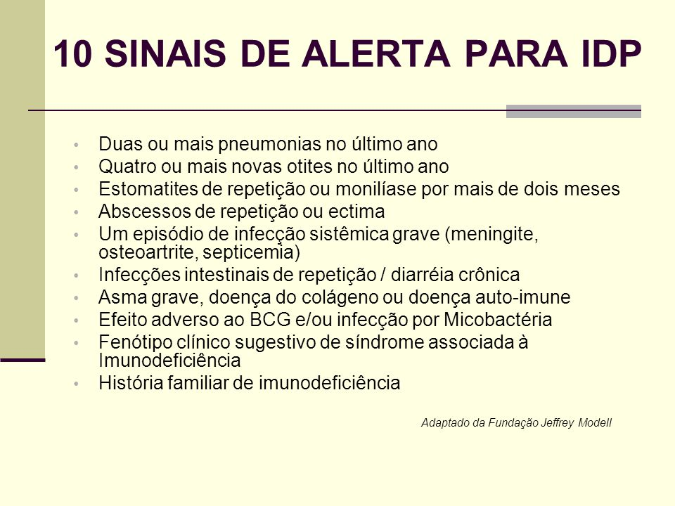 10 SINAIS DE ALERTA PARA IDP