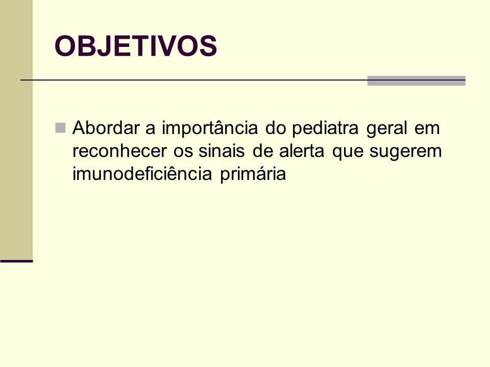 OBJETIVOS Abordar a importância do pediatra geral em reconhecer os sinais de alerta que sugerem imunodeficiência primária.