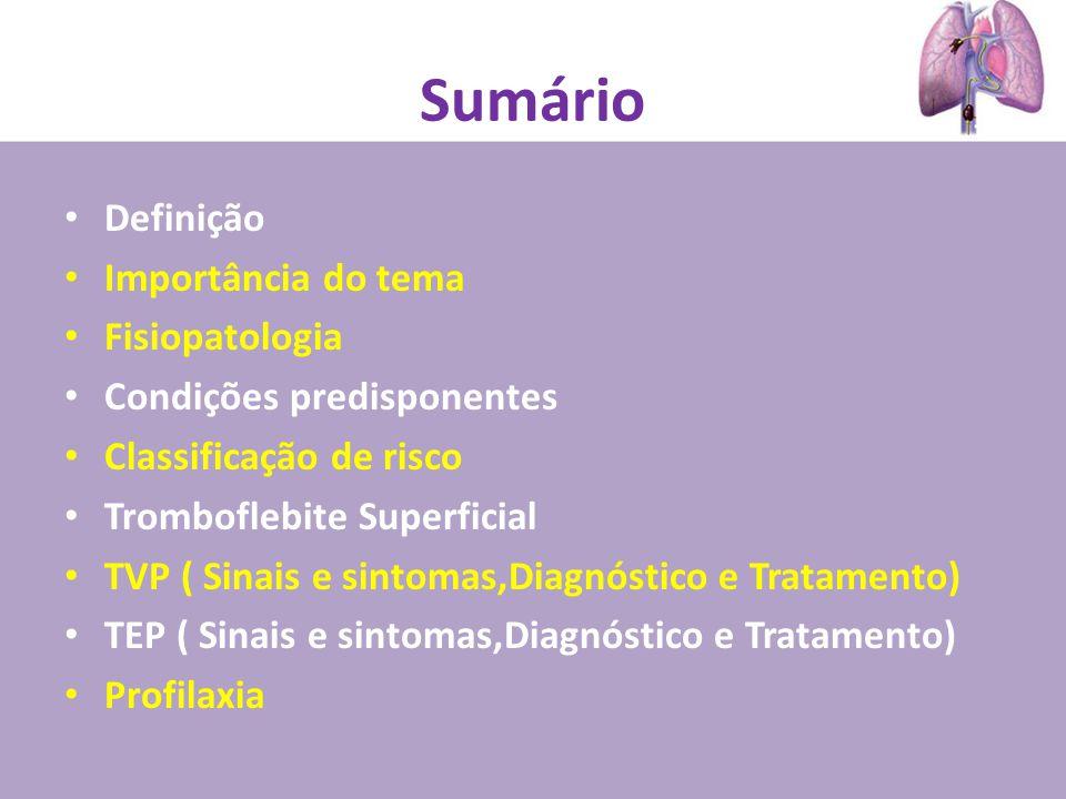 Sumário Definição Importância do tema Fisiopatologia