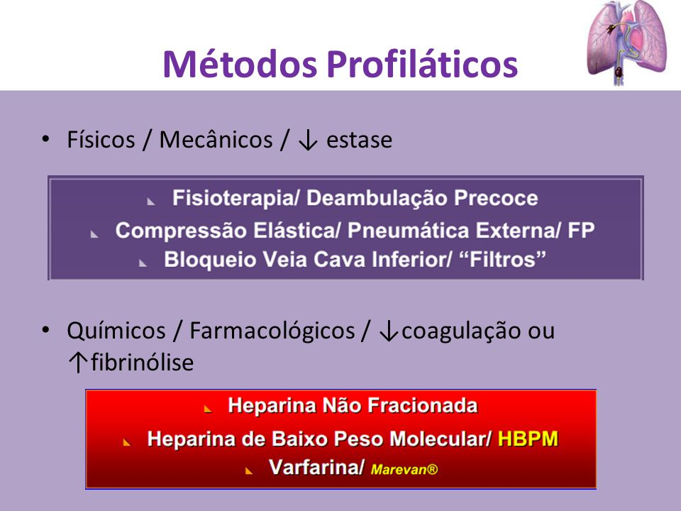 Métodos Profiláticos Físicos / Mecânicos / ↓ estase