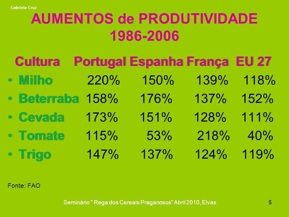 AUMENTOS de PRODUTIVIDADE 1986-2006