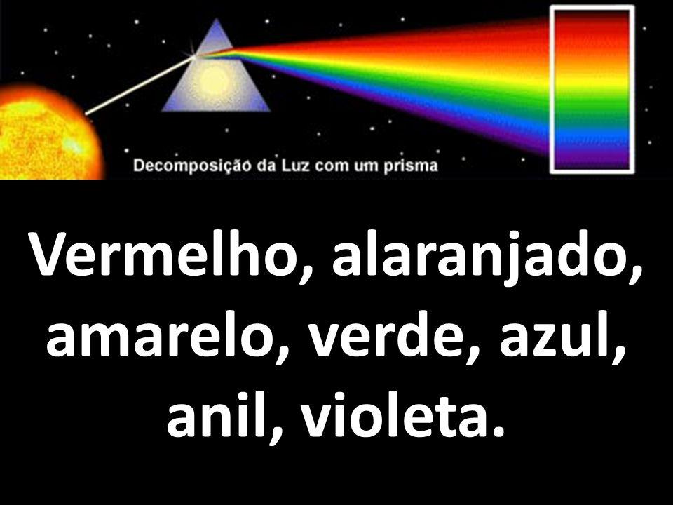 Vermelho, alaranjado, amarelo, verde, azul, anil, violeta.