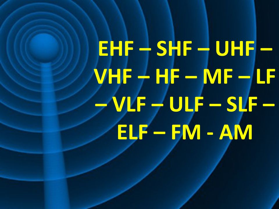 EHF – SHF – UHF – VHF – HF – MF – LF – VLF – ULF – SLF – ELF – FM - AM