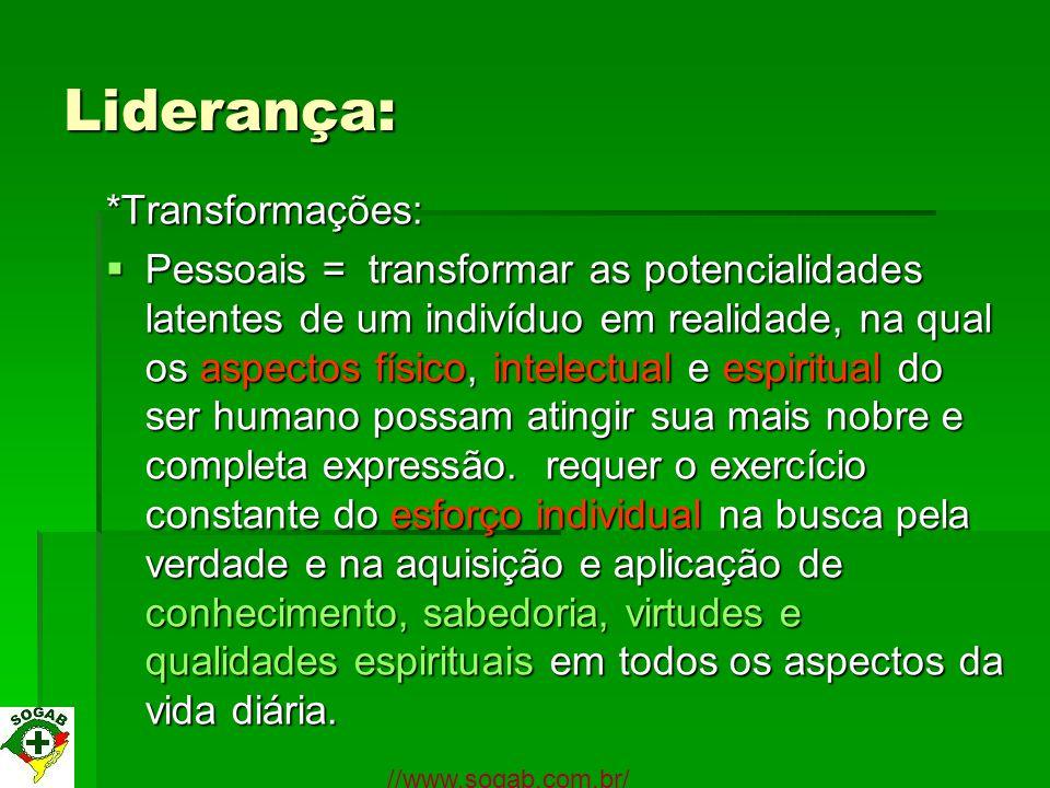 Liderança: *Transformações: