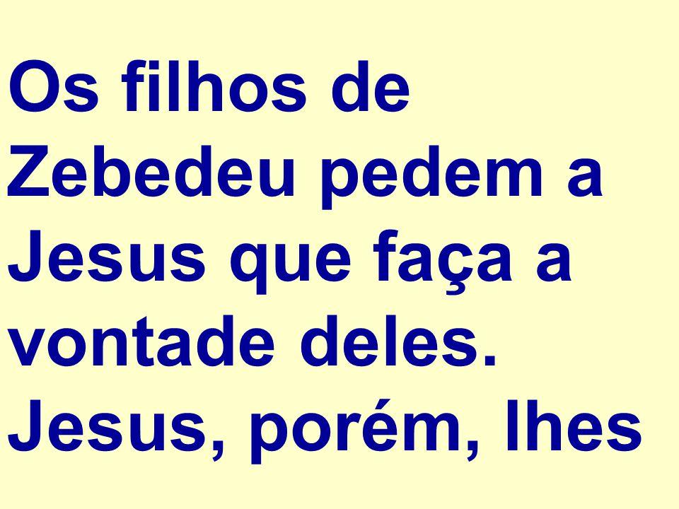 Os filhos de Zebedeu pedem a Jesus que faça a vontade deles