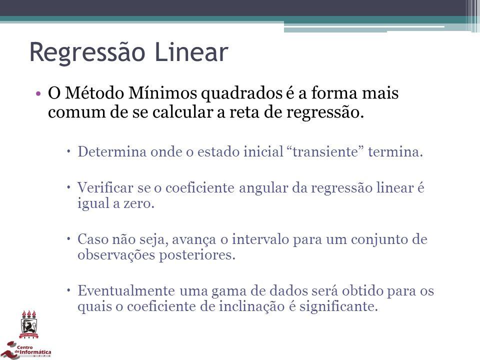 Regressão Linear O Método Mínimos quadrados é a forma mais comum de se calcular a reta de regressão.