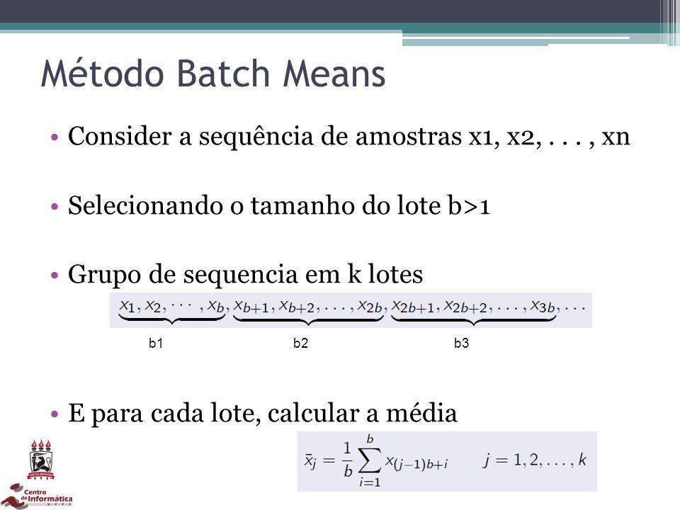 Método Batch Means Consider a sequência de amostras x1, x2, . . . , xn
