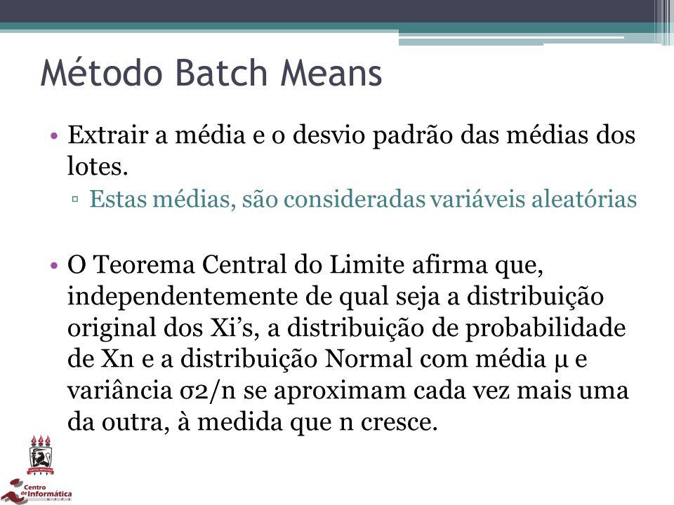 Método Batch Means Extrair a média e o desvio padrão das médias dos lotes. Estas médias, são consideradas variáveis aleatórias.