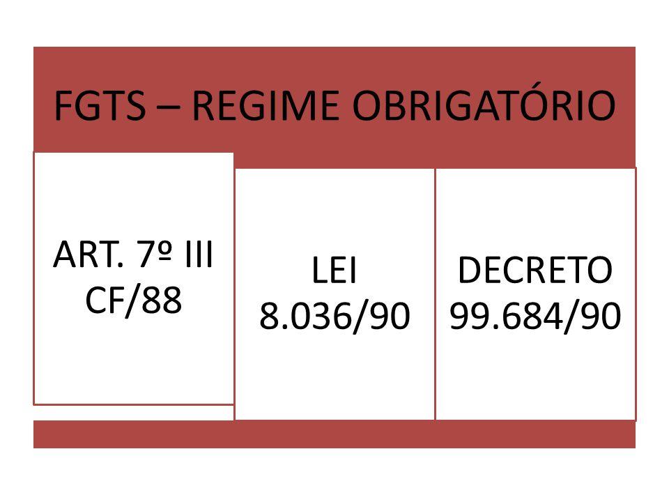 FGTS – REGIME OBRIGATÓRIO