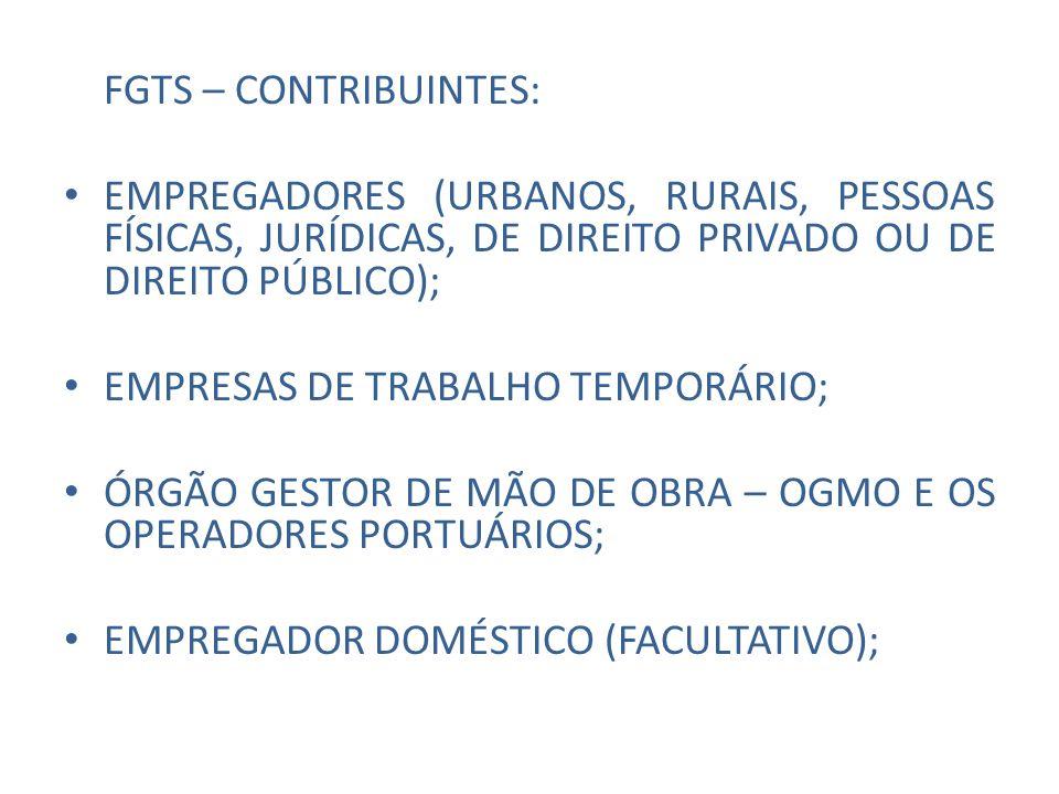 FGTS – CONTRIBUINTES: EMPREGADORES (URBANOS, RURAIS, PESSOAS FÍSICAS, JURÍDICAS, DE DIREITO PRIVADO OU DE DIREITO PÚBLICO);