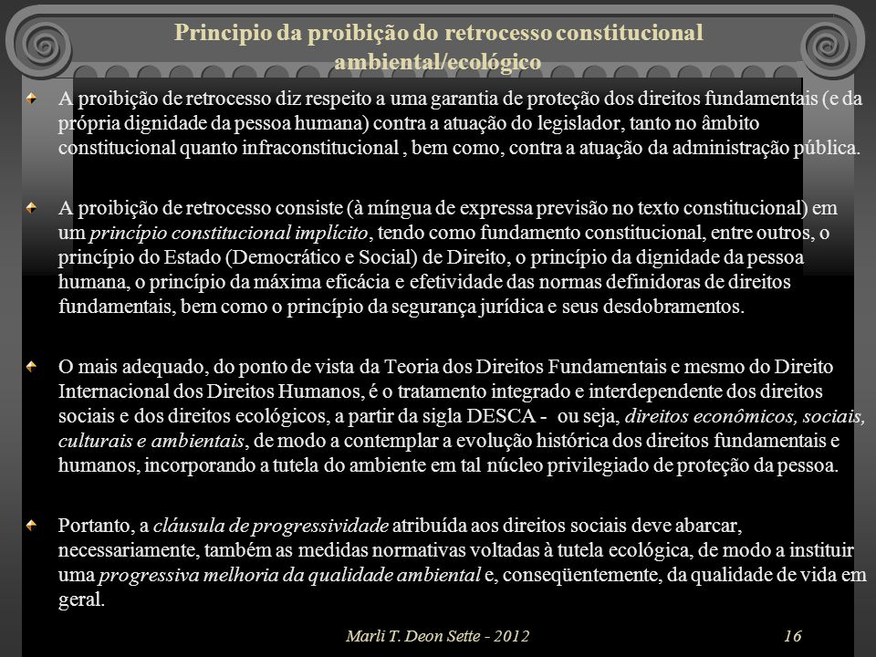 Principio da proibição do retrocesso constitucional ambiental/ecológico