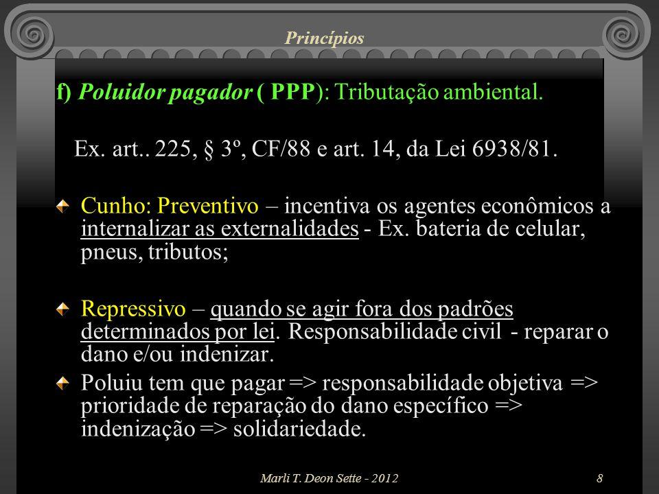 f) Poluidor pagador ( PPP): Tributação ambiental.