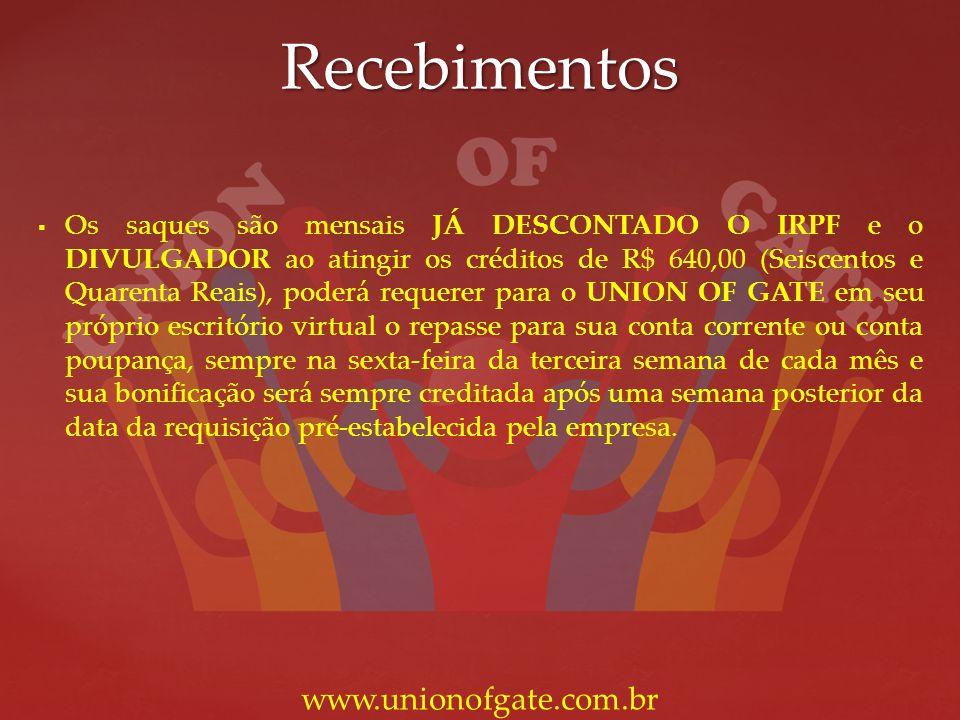 Recebimentos www.unionofgate.com.br