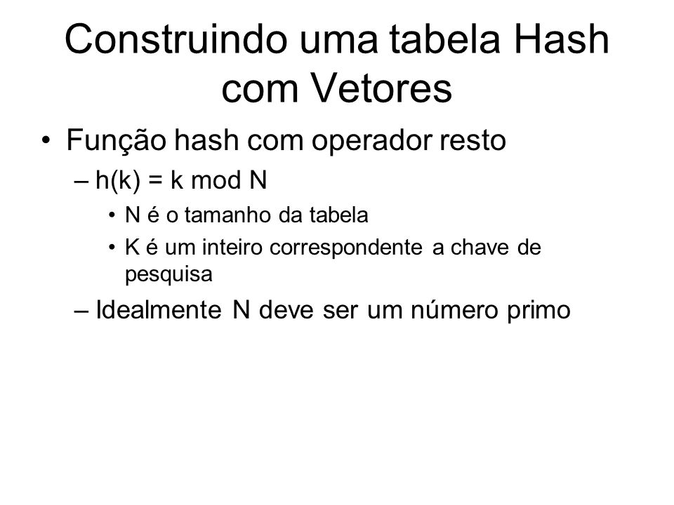 Construindo uma tabela Hash com Vetores