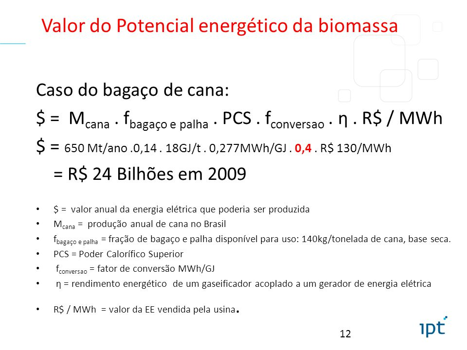 Valor do Potencial energético da biomassa
