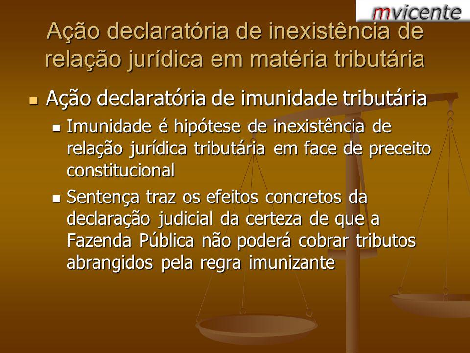 Ação declaratória de inexistência de relação jurídica em matéria tributária