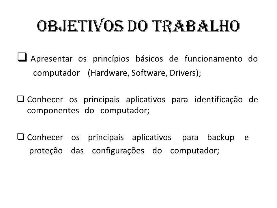 Objetivos do trabalho Apresentar os princípios básicos de funcionamento do. computador (Hardware, Software, Drivers);