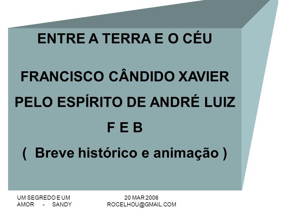 FRANCISCO CÂNDIDO XAVIER PELO ESPÍRITO DE ANDRÉ LUIZ F E B