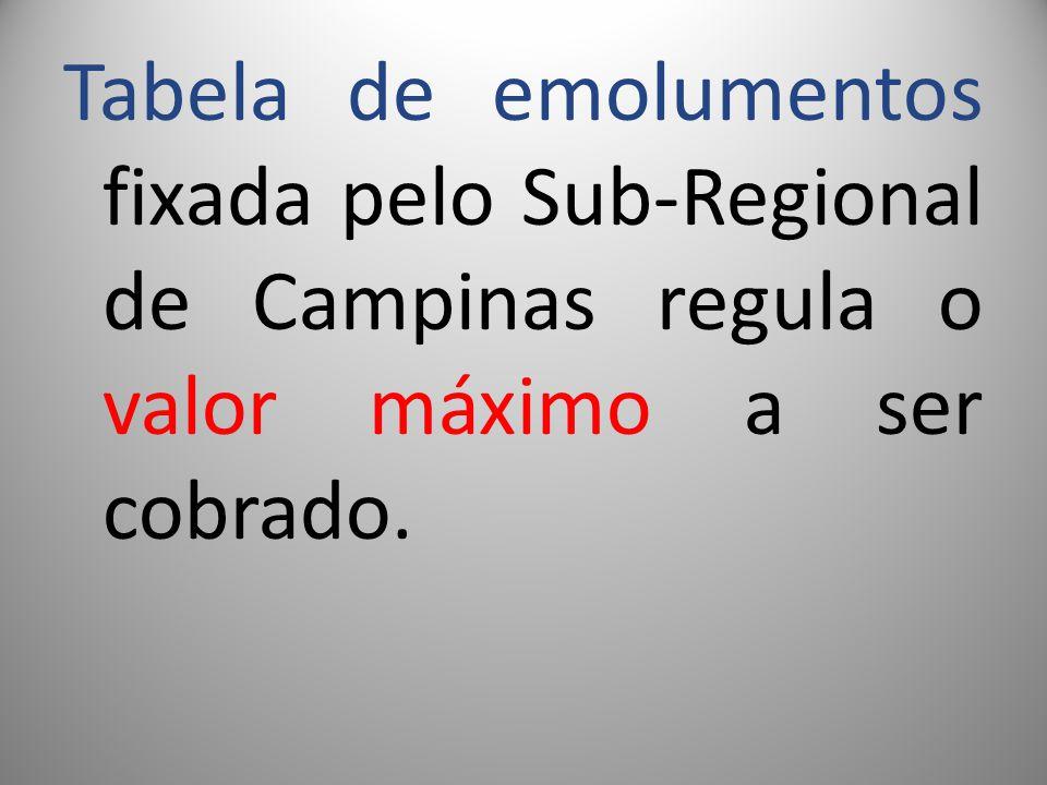 Tabela de emolumentos fixada pelo Sub-Regional de Campinas regula o valor máximo a ser cobrado.