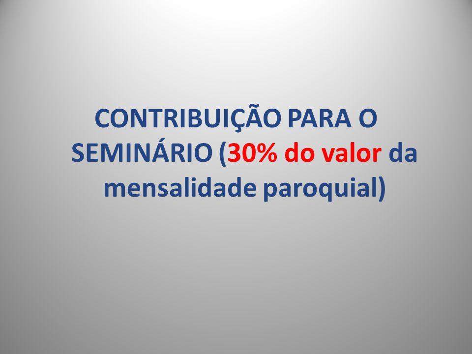 CONTRIBUIÇÃO PARA O SEMINÁRIO (30% do valor da mensalidade paroquial)