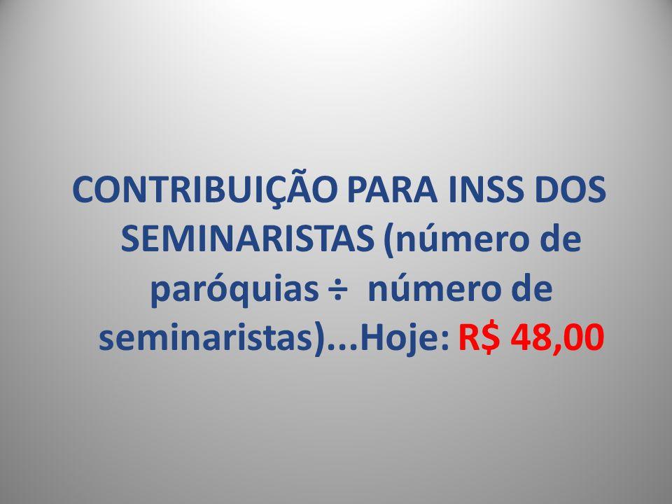 CONTRIBUIÇÃO PARA INSS DOS SEMINARISTAS (número de paróquias ÷ número de seminaristas)...Hoje: R$ 48,00