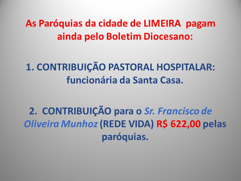 As Paróquias da cidade de LIMEIRA pagam ainda pelo Boletim Diocesano: 1.
