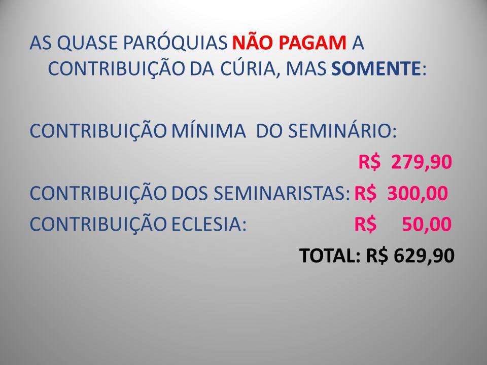 AS QUASE PARÓQUIAS NÃO PAGAM A CONTRIBUIÇÃO DA CÚRIA, MAS SOMENTE: CONTRIBUIÇÃO MÍNIMA DO SEMINÁRIO: R$ 279,90 CONTRIBUIÇÃO DOS SEMINARISTAS: R$ 300,00 CONTRIBUIÇÃO ECLESIA: R$ 50,00 TOTAL: R$ 629,90