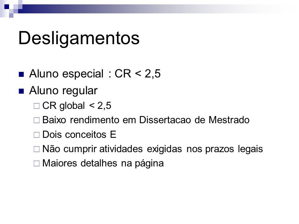 Desligamentos Aluno especial : CR < 2,5 Aluno regular