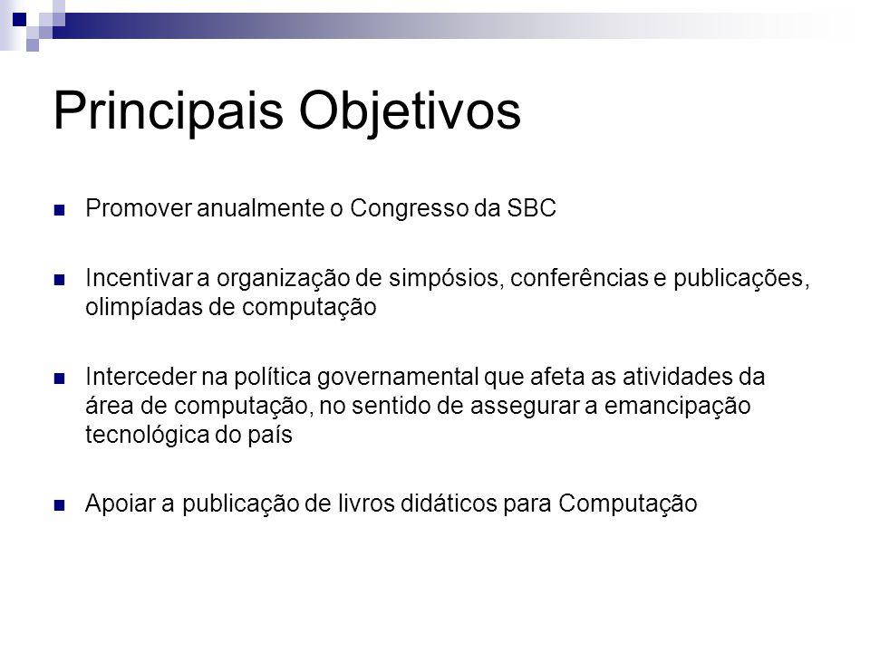 Principais Objetivos Promover anualmente o Congresso da SBC