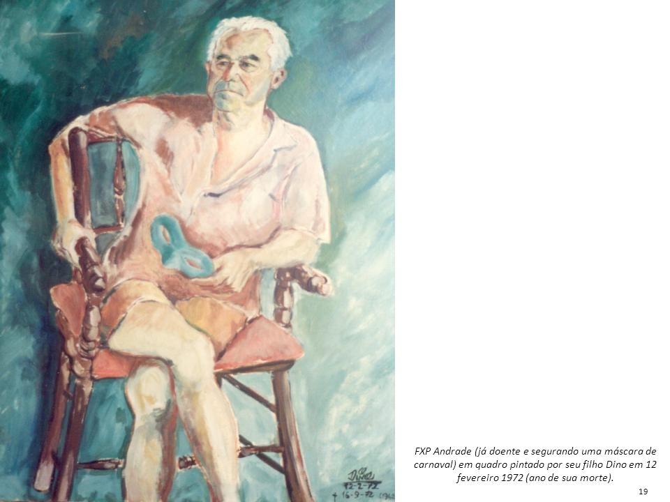 FXP Andrade (já doente e segurando uma máscara de carnaval) em quadro pintado por seu filho Dino em 12 fevereiro 1972 (ano de sua morte).