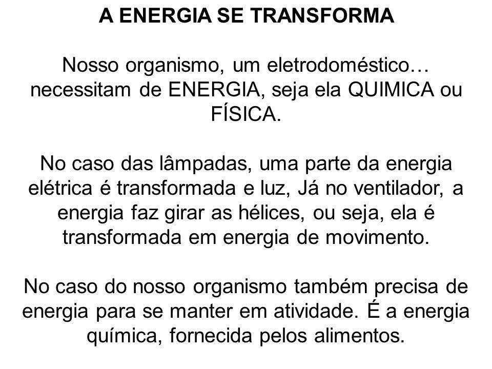 A ENERGIA SE TRANSFORMA
