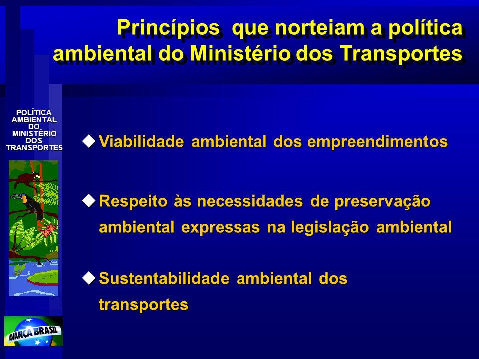 Princípios que norteiam a política ambiental do Ministério dos Transportes