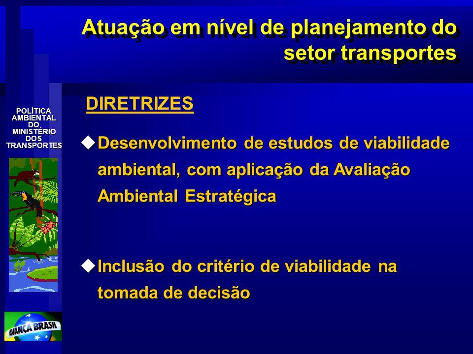 Atuação em nível de planejamento do setor transportes