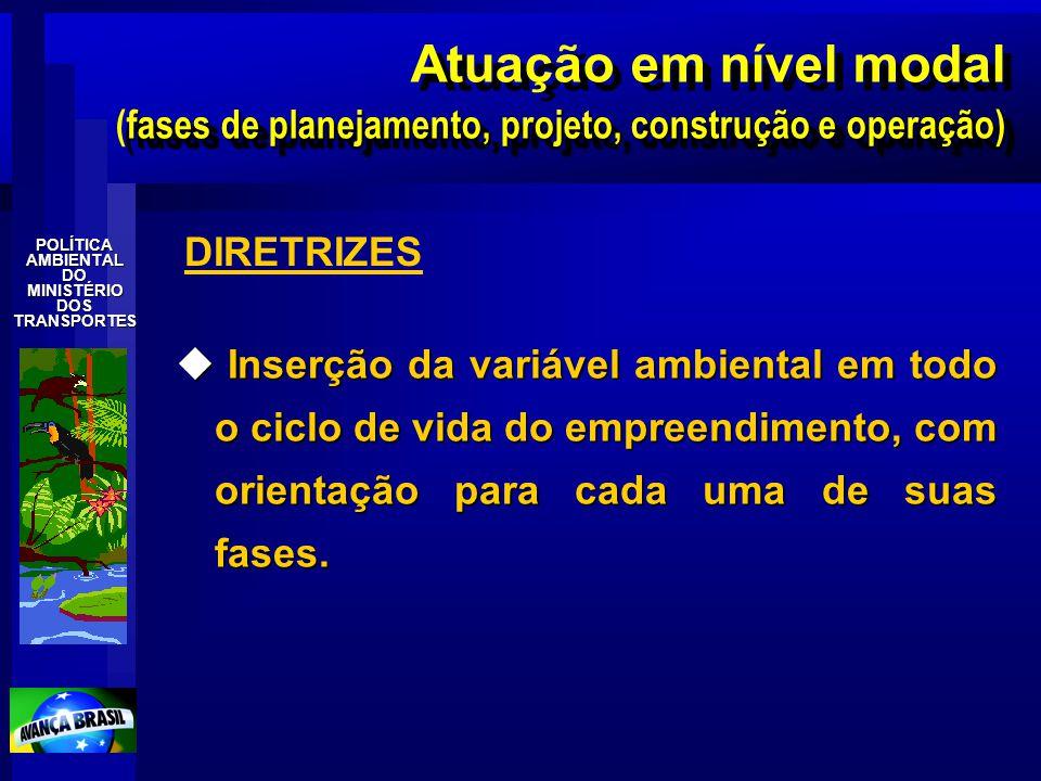 Atuação em nível modal (fases de planejamento, projeto, construção e operação)