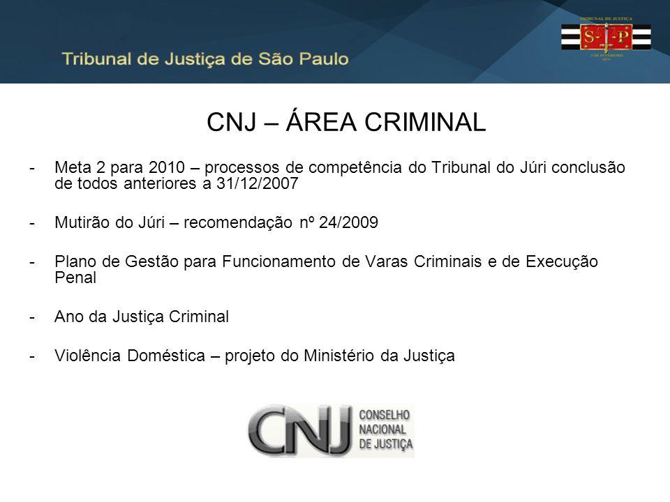 CNJ – ÁREA CRIMINAL Meta 2 para 2010 – processos de competência do Tribunal do Júri conclusão de todos anteriores a 31/12/2007.