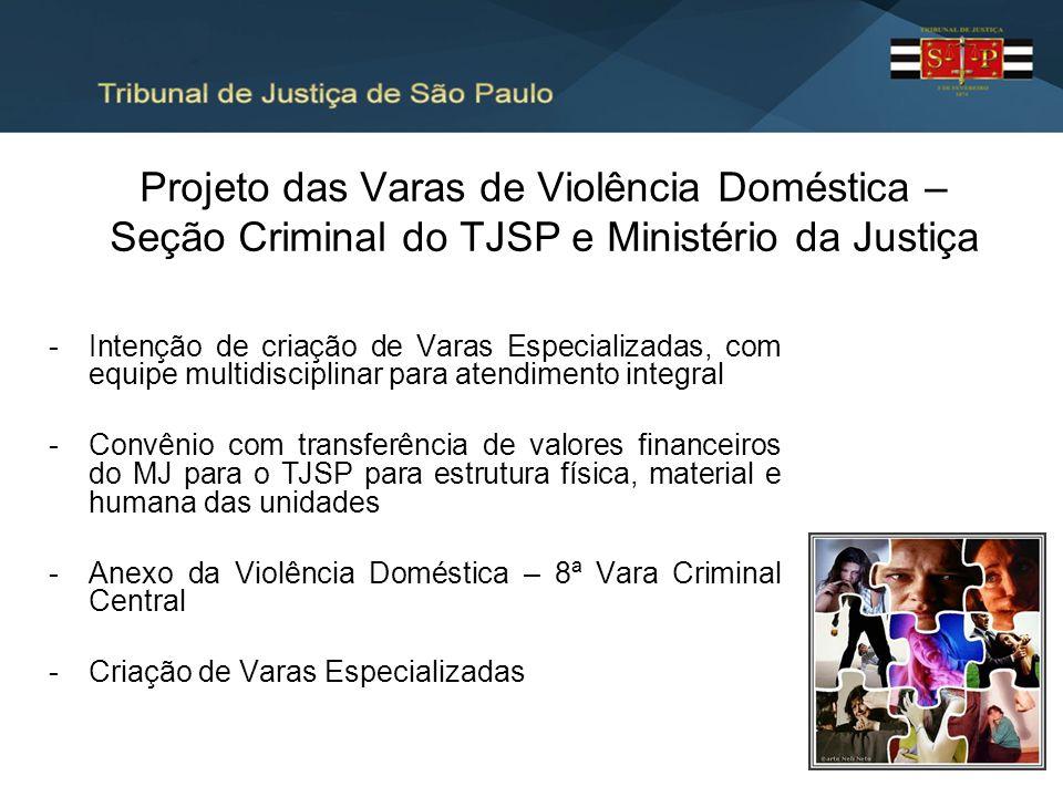 Projeto das Varas de Violência Doméstica – Seção Criminal do TJSP e Ministério da Justiça