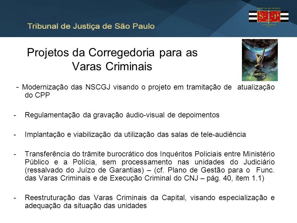 Projetos da Corregedoria para as Varas Criminais