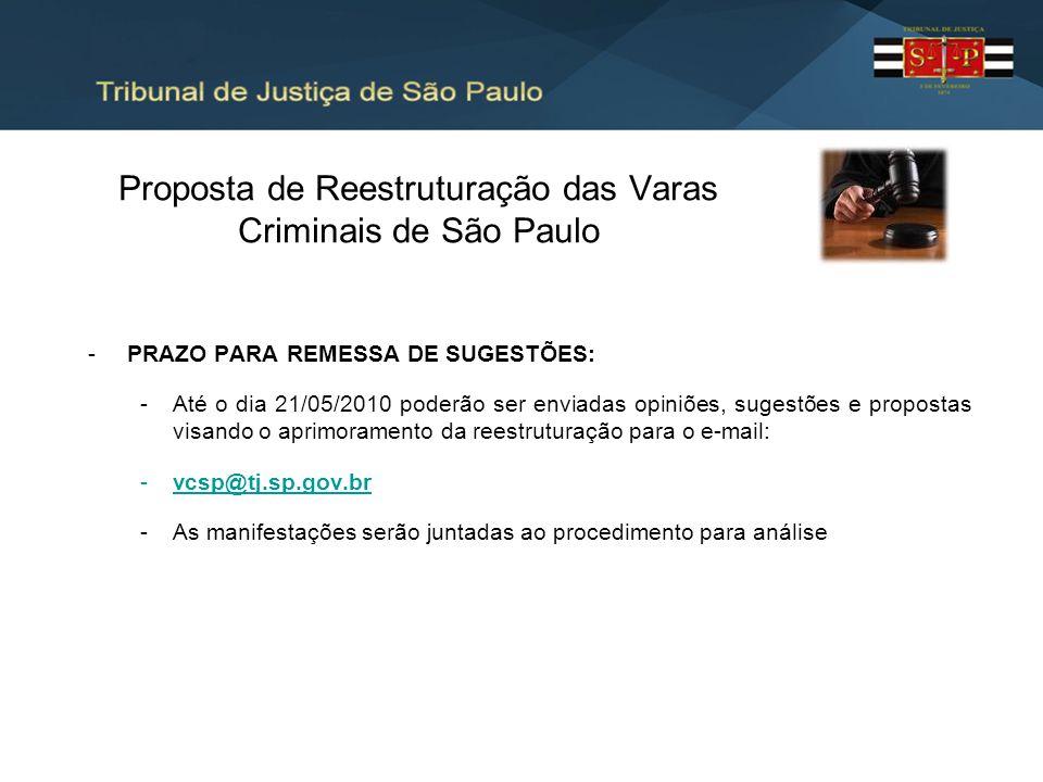Proposta de Reestruturação das Varas Criminais de São Paulo